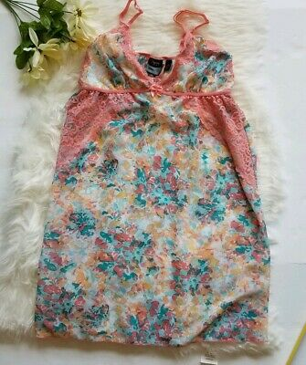 Passion Forever Pink/Teal Floral Lace  Lingerie Tunic Top Nightgown Size M