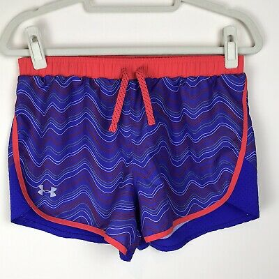 Under Armour Girls Youth Sz XL Blue Red Running Athletic Shorts EUC