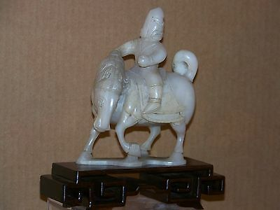 Chinese Qing Dy Hand Carved White Jade Sculpture Soldier/wArmour on Horse