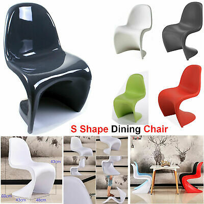 Plastic Dining Chair Panton Style S Modern Stylish Graphite Seat Furniture Stool