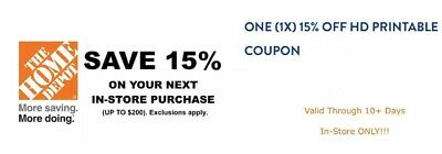 Home Depot  15 % Off Entire Bill Up To $200 Off Instant Rebate C0UPON