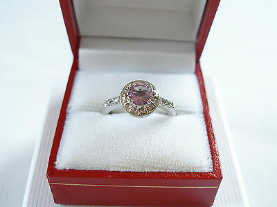 .75 Ct. Amethyst Solitaire & Aquamarine  Sterling Silver Ring