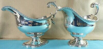 Exceptional Pair Georgian Sterling Silver Sauce Boats Crests Paul Storr 1809