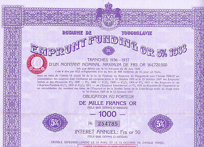 Royaume De Yougoslavie / Emprunt Funding Or 5% 1933