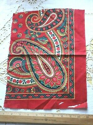 Antique French Block Printed Turkey Red Cotton Fabric c1860-70~Bandana~Paisley