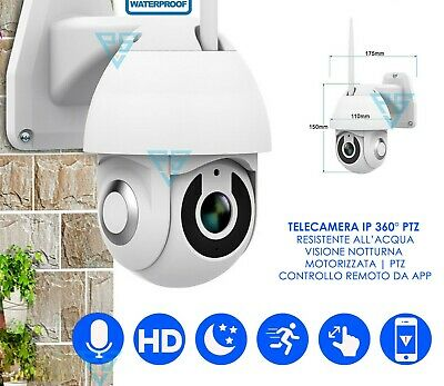 Telecamera Esterna Wireless Ip Ptz App Wifi 360° E Videocamera Interna Hd 1080P