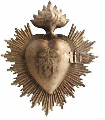 Sacred Heart, Metal Heart Milagro, Gold Heart Box, Ex Voto