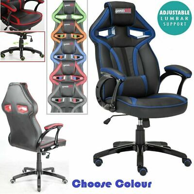 Executive PU Leather Sport Racing Car Gaming Office Chair With Lumbar Support UK