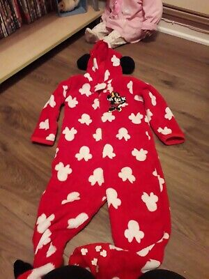 girls red fleece minnie mouse one piece/all in one age 3 years