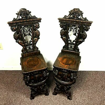 Pair of 19th Century Gothic Revival Side Accent Chairs Carved Griffins