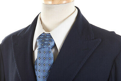 MALO Navy Blue Double Breasted Blazer 40R in Cotton Twill Summer Wedding Jacket