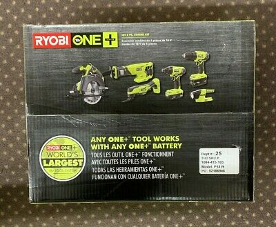 RYOBI 18 Volt One+ Lithium-Ion Cordless 6-Tool Combo Kit (2) Batteries, Charger