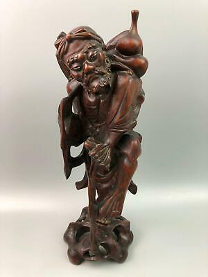 """Antique Chinese Wood Carved Man Figure Sculpture 14"""" Tall"""