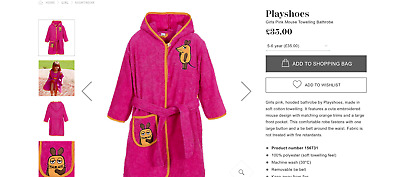 Playshoes Girls Pink Mouse Towelling Dressing Gown/ Bathrobe size 3-5 RRP 35.00