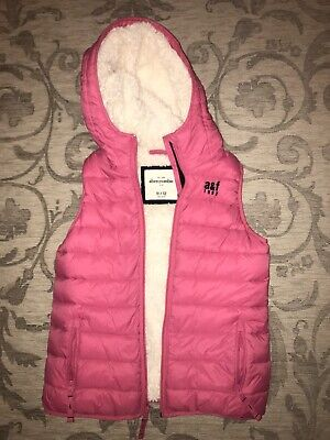 Girls Abercrombie&Fitch Pink Padded Shearling Lined Body Warmer Age/ Gilet 11-12