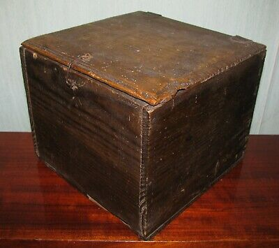 Antique primitive wooden wood box rustic dovetail Lithuania Europe 1800