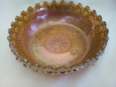 Serving bowl, marigold Carnival glass, Sowerby 'Chunky' pattern No. 2266, 1950s