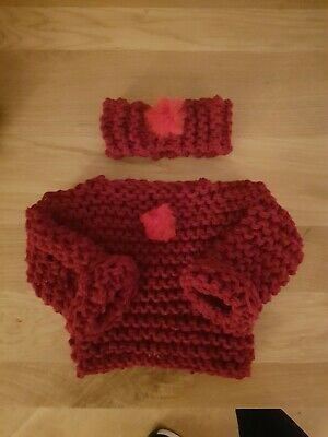 BRAND NEW Hand Knit Chunky Red Baby Jumper And Headband Size 0-3 Months