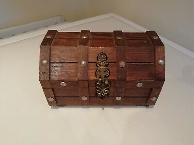 Wooden Chest Shaped Jewellery Box