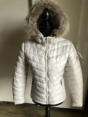 SUPERDRY DAMEN SUPER Core Down Hooded Jacket Jacke Weiß