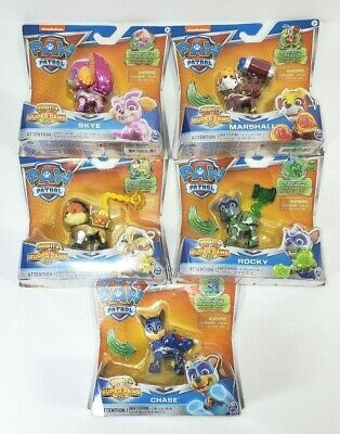 Paw Patrol Mighty Pups Super Paws Marshall, Skye, Rocky, Rubble, Chase Figure