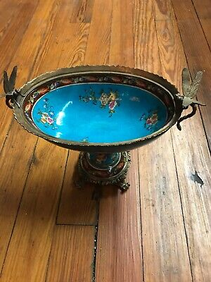 Serves Porcelain - Blue French Style Bowl W/Gilt Bronze Dragonfly Handle