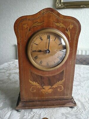 Antique Edwardian Mahogany Inlaid Mantle Clock Vintage Circa 1905