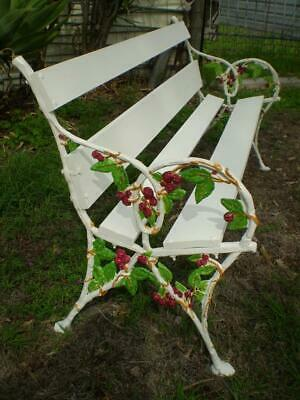 vintage cast iron & timber garden bench french Vinyard  grape vine style