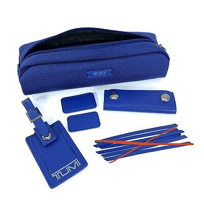 Tumi Atlantic Blue Accent Kit Leather Luggage Tag Monogram Patch Accessory Pouch