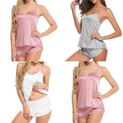 Sleepwear Casual Solid Shorts Set Babydoll Cami Satin Sexy Women Pajama Lingerie