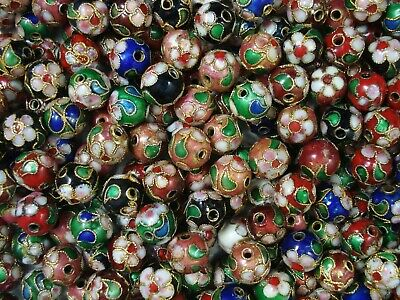 Cloisonne Beads 25pc Mix 10mm Round Jewellery DIY Jewelry Spacers FREE POSTAGE