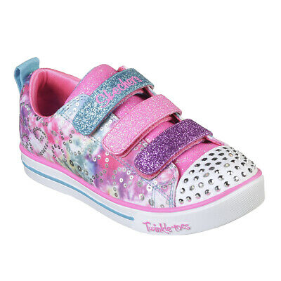 Kids Girls Skechers Sparkle Lite Rainbow Brights Twinkle Toes Shoes UK 9.5-6
