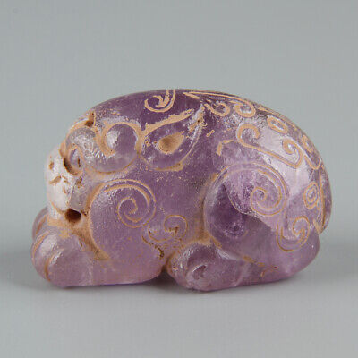 Chinese Exquisite Hand carved beast Carving Amethyst statue