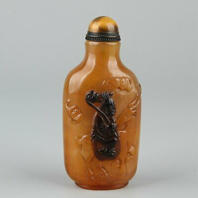 Chinese Exquisite Handmade the ancients deer Glass snuff bottle
