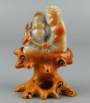 Chinese Exquisite Hand-carved the ancients Carving jadeite jade statue
