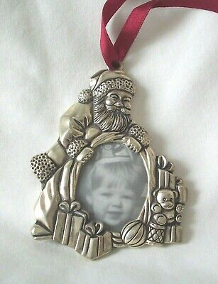 Gorham Silverplate Santa & Presents Picture Frame Ornament