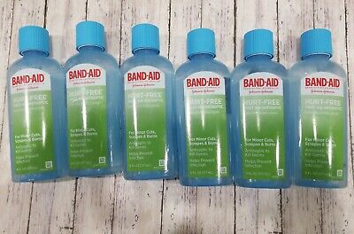 6 Pack BAND-AID Hurt-Free Pain Relief Antiseptic First Aid Liquid Wash 6 fl oz