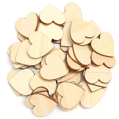 Hot 50Pcs Wooden Love Hearts Shapes Embellishments Heart Plain Craft FE