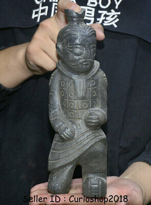 "10"" Chinese hongshan culture Old jade (black magnet) Terracotta Warriors Statue"
