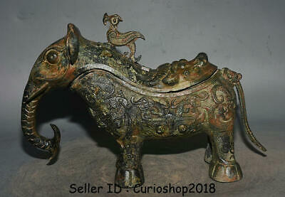 """15.2"""" Ancient Chinese Bronze Ware Dynasty Elephant Zun Wineware Drinking vessel"""