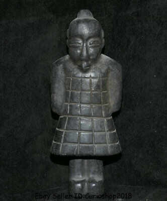 "10"" Old Chinese Hongshan Culture Jade Terracotta Warriors Terracotta Army Statue"