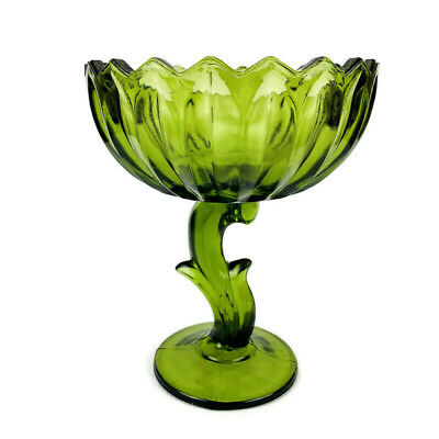 """Vintage Depression Avocado Green Pedestal Scalloped Top Candy 7.5"""" Dish Compote"""