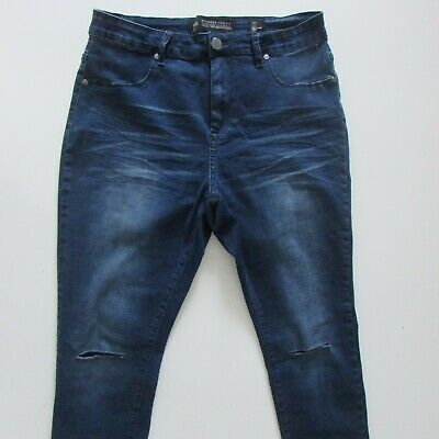 City Chic Harley Jeans Womens Size 16s L30 Ripped Mid Rise Skinny Blue Zip Fly
