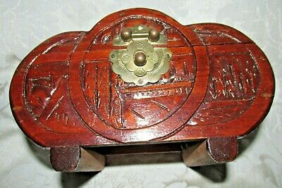 Vintage Asian Chinese RARE Wood Footed Circular Trinket BOX Brass Latch