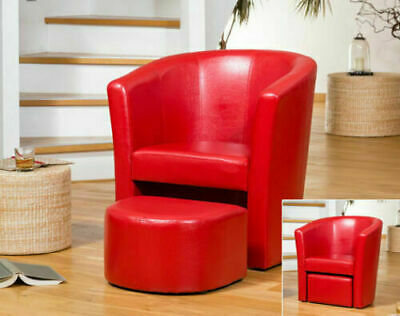 Modern Leather Tub Chair Accent Armchair Footstool Set Sofa Office Home Lounge.