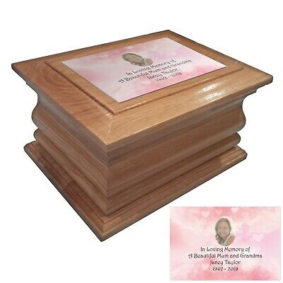 Wood Cremation urns ashes casket pink heart personalised oak adult human funeral