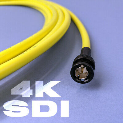 4K / HD SDI BNC Cable - High Quality Belden 12GHz - Coloured Yellow - All Sizes