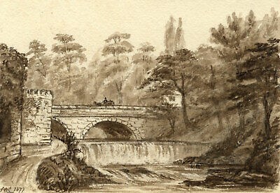 C.A. Collis, Abbey Bridge & Weir, River Tavy, Tavistock – 1877 watercolour
