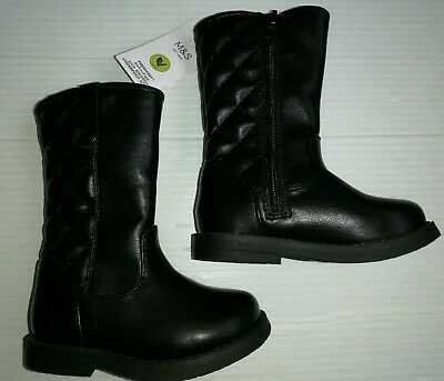 BNWT Girl's M & S Black Quilted Long BOOTS UK Child Size 6 EU 23 rrp £25 NEW