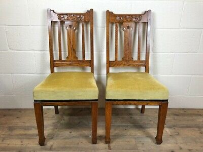Pair of Oak Arts and Crafts Upholstered Chairs - Delivery Available